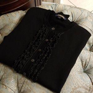 Brooks Brothers Black Tuxedo Front Cardigan Size X